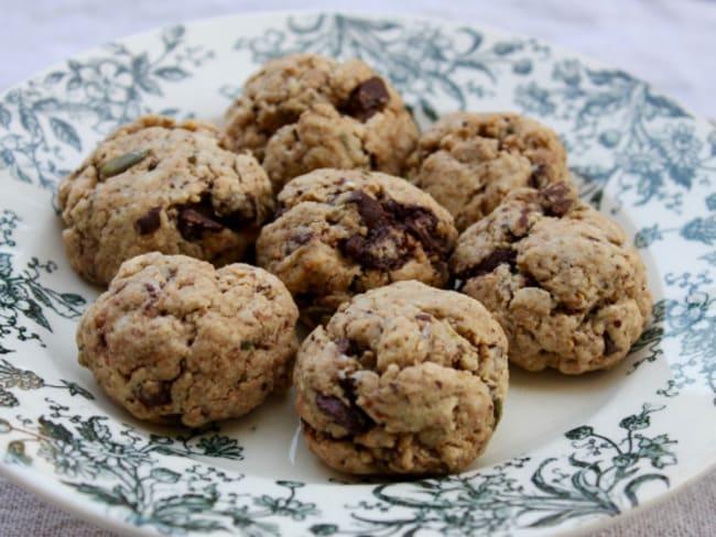 Cookies au tahini, graines de courge et pépites de chocolat