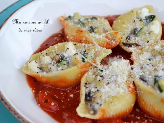 Pâtes conchiglione farcies aux aubergines et courgettes