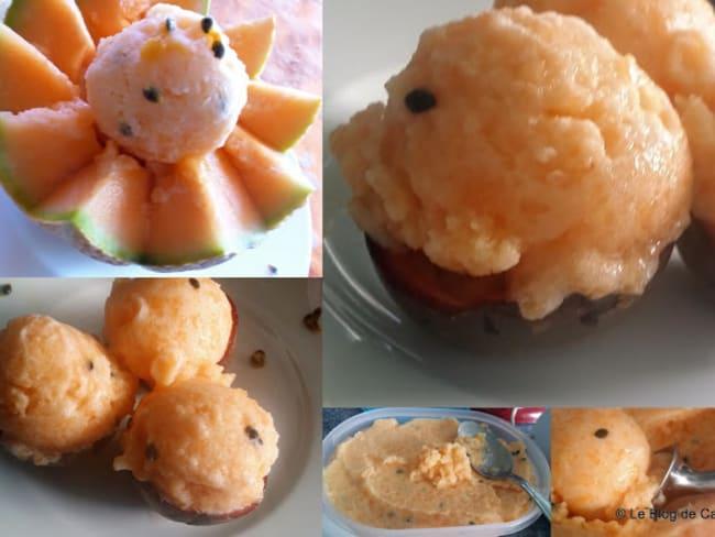 Sorbet de melon, limoncello et fruits de la passion