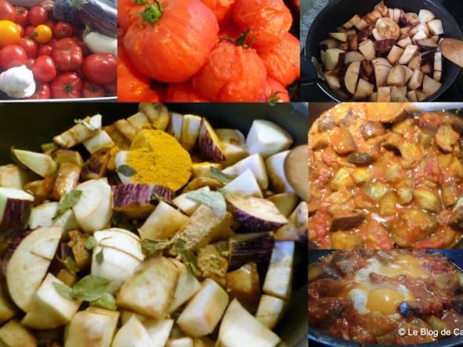 Poêlée d'aubergines au curry et à la tomate