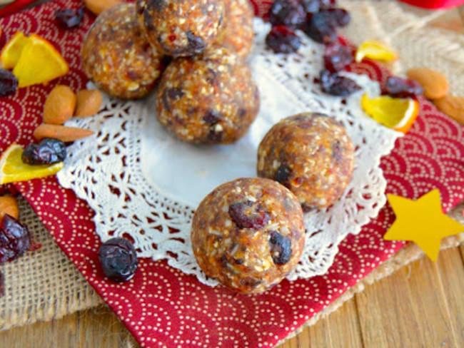 Bouchées à l'avoine, cranberries, coco et orange