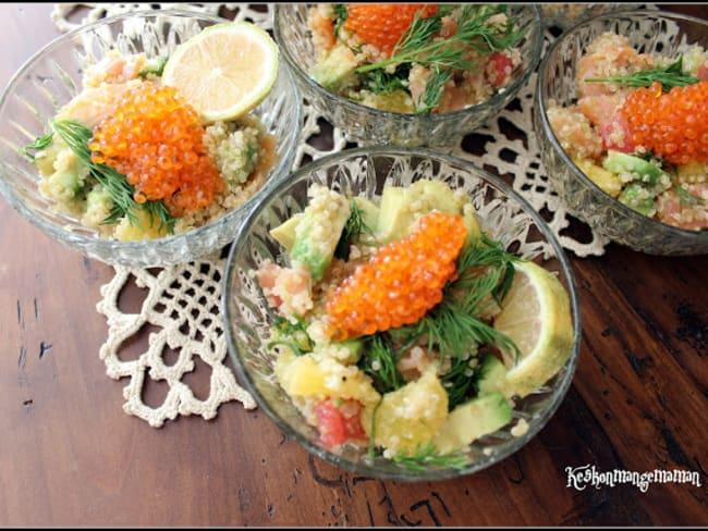 Verrines de quinoa au saumon fumé, agrumes, aneth et poivre timut