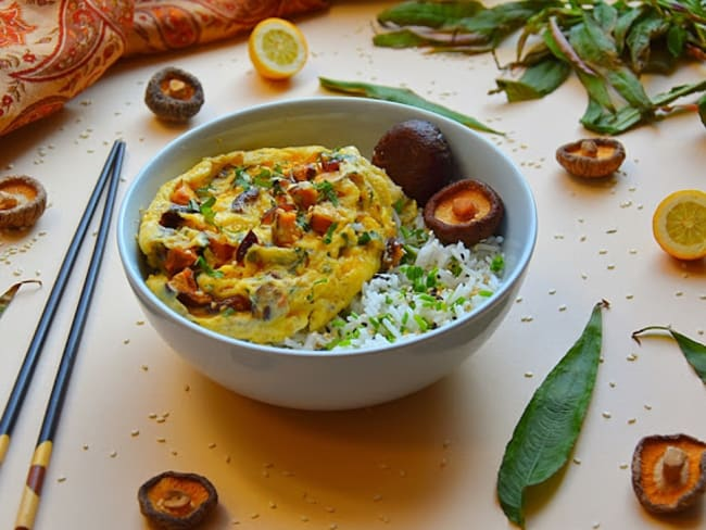 Omelette aux shitakés et rau ram