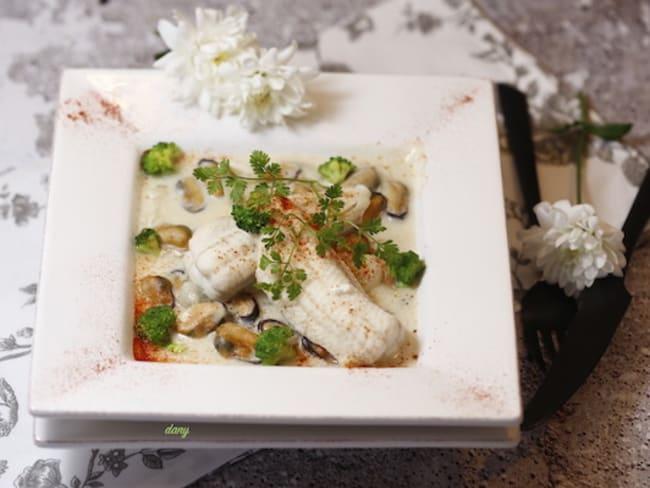 Marinière de moules et filets de sole aux brocolis