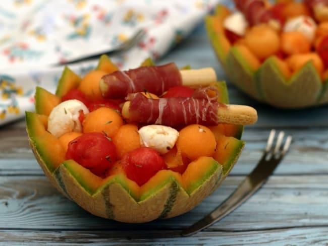 Salade de melon, pastèque et mozzarella au porto