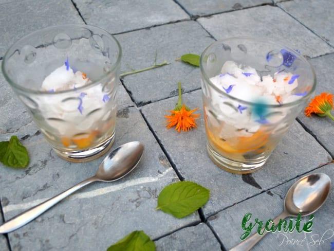Granité menthe citronné, pêches, soucis et bleuet