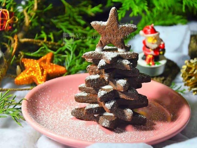 Sapin de Noël en sablés chocolat et orange
