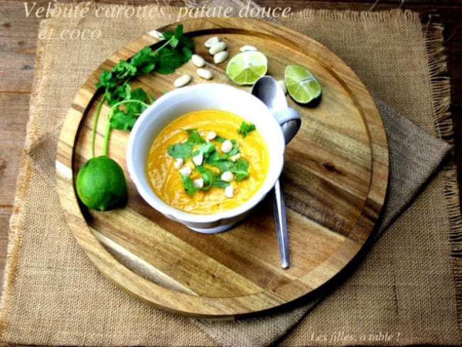 Velouté de carottes, patate douce et coco
