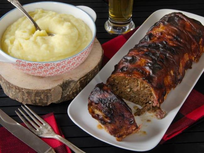 Pain de viande et mioche, purée navets pommes de terre