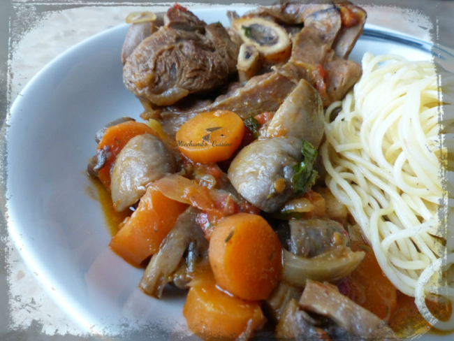 Osso buco aux légumes et spaghetti