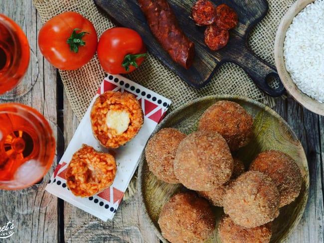 Arancini tomate mozzarella chorizo