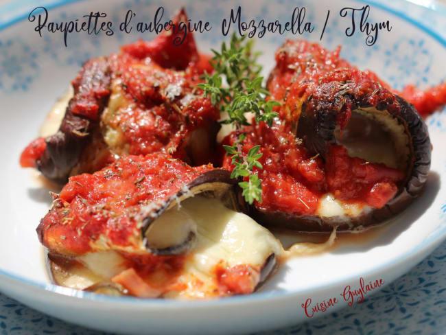Paupiettes d'aubergine thym mozzarella