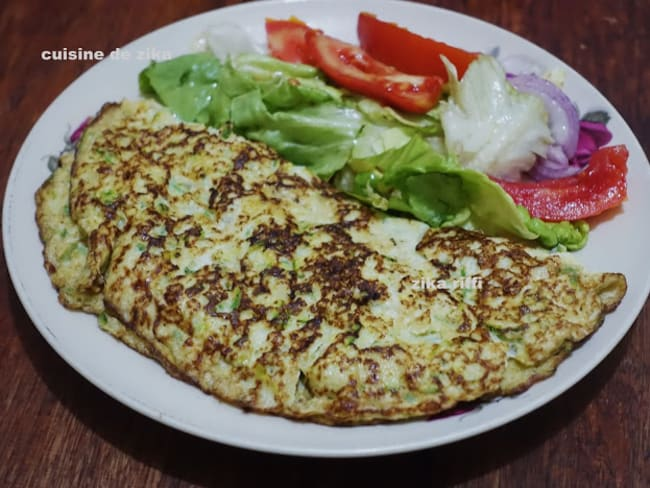 Omelette aux courgettes râpées