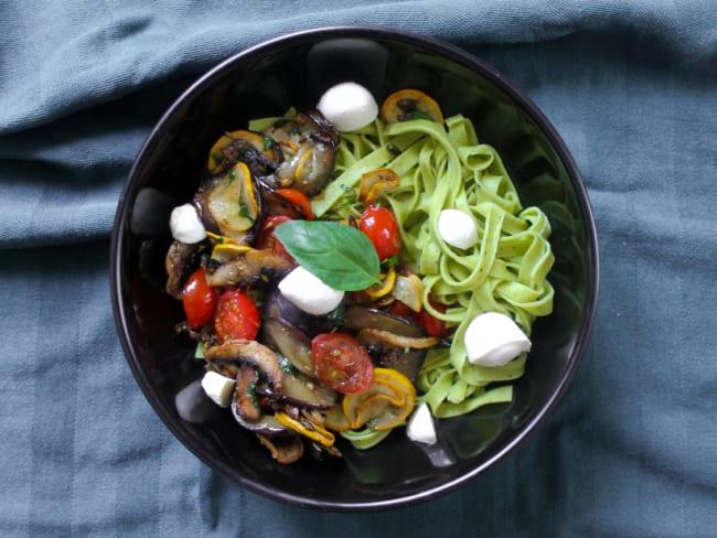 Tagliatelles et légumes poêlés