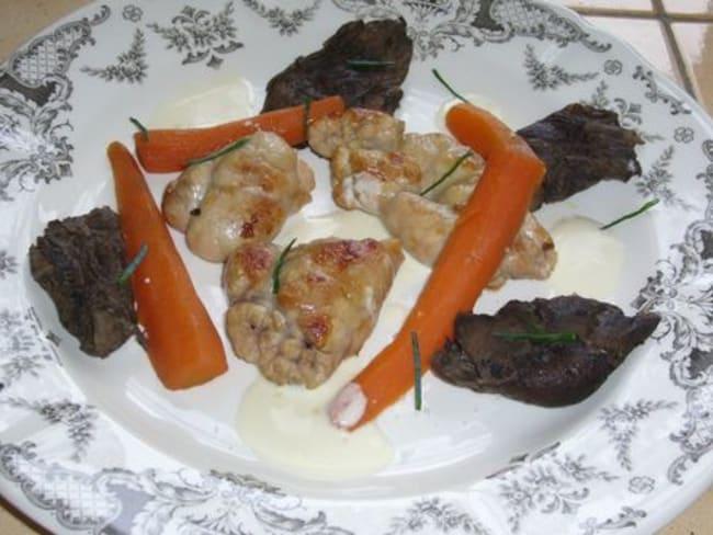 Ris de veau aux champignons, sauce au riesling