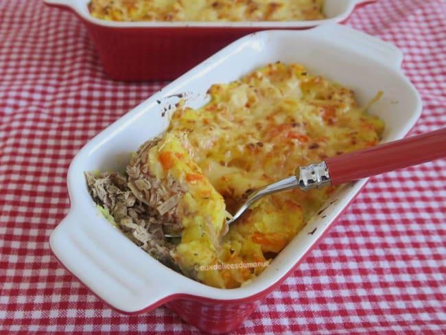 Parmentier de canard confit aux pommes de terre et carottes