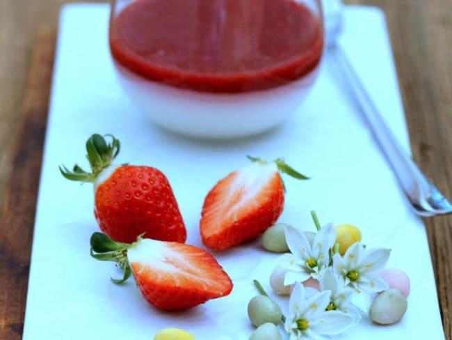 Panna cotta végétale, coulis de fruits rouge