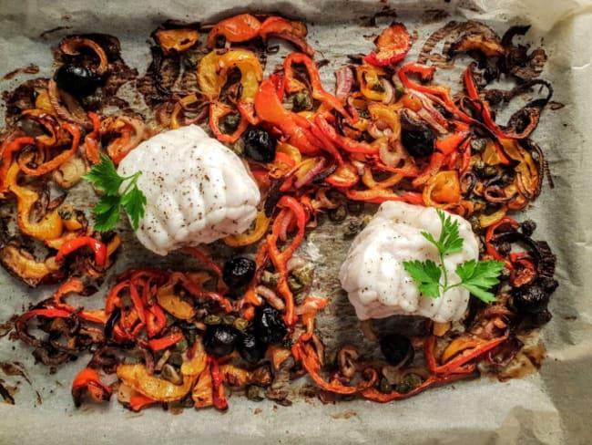 Cabillaud aux olives et poivrons
