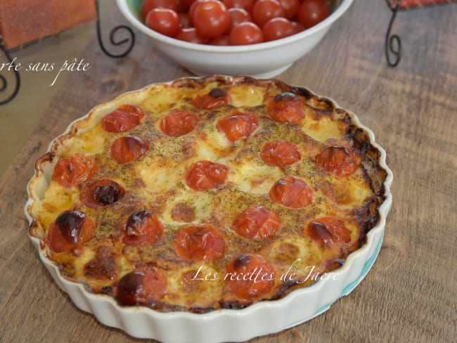 Tarte sans pâte aux tomates cerises et billes de mozzarella