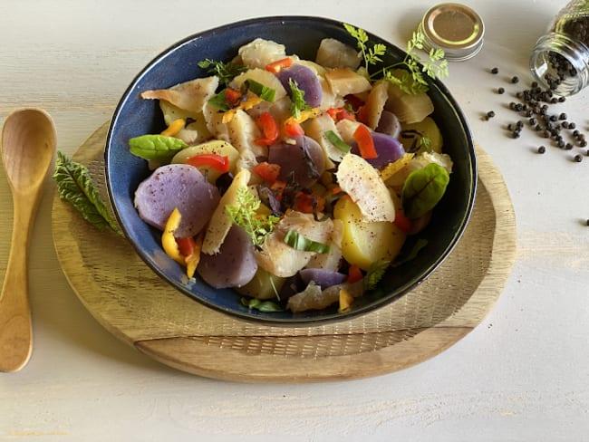 Salade tiède de Haddock aux deux pommes de terre