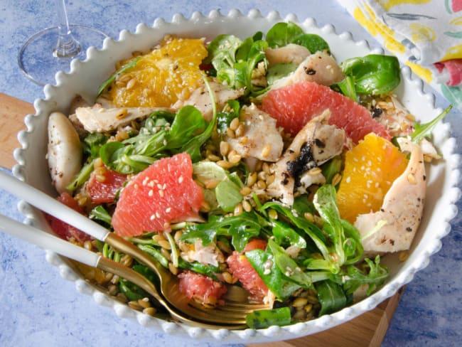 Salade lapin agrumes et vinaigrette ail noir