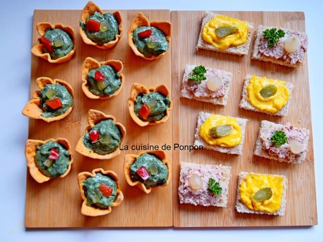 Amuse bouche avec guacamole et spiruline et toast avec rouille ou terrine strasbourgeoise