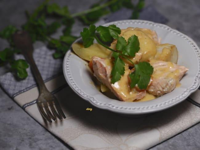 Blanquette de saumon et St-Jacques à la bisque