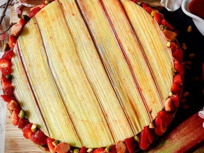 Tarte fraise rhubarbe vanille