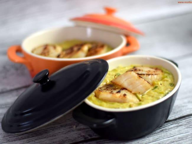 Cassolette de Saint-Jacques à la fondue de poireaux