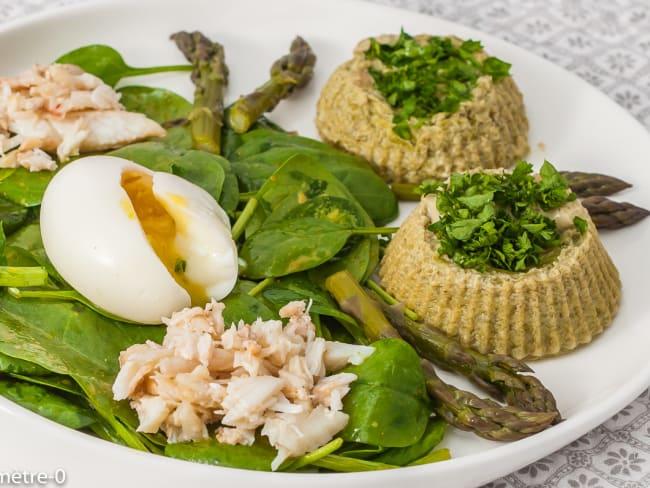 Flans d'asperges, œufs et araignée de mer