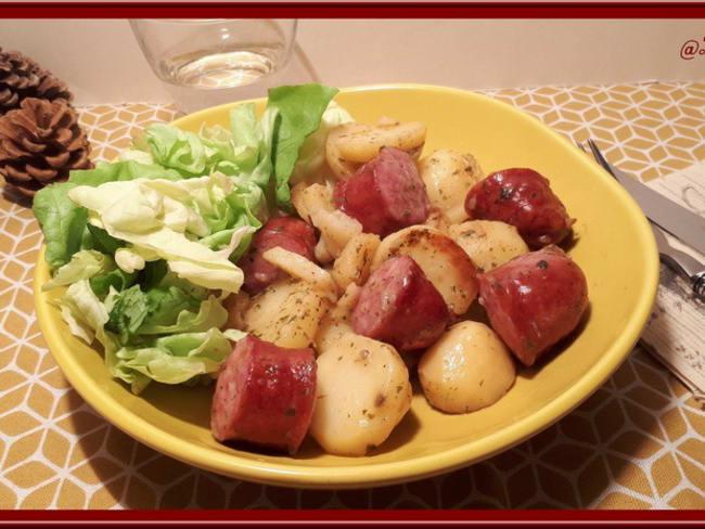 Pommes de terre sautées à la saucisse de Montbéliard