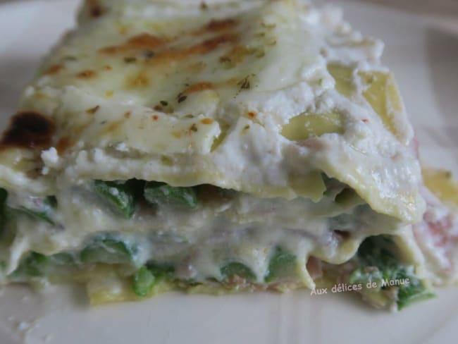 Lasagnes aux asperges vertes et speck