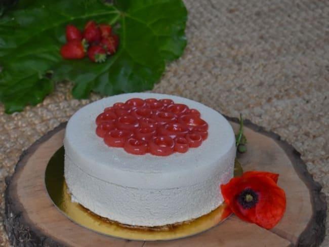 Entremets fraise rhubarbe