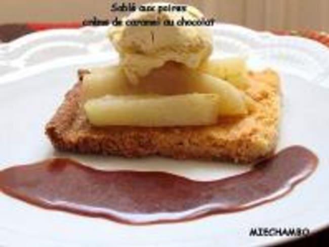 Sablés aux Poires, Caramel au Beurre Salé et Chocolat