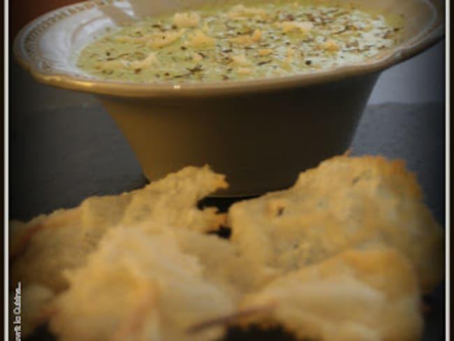 Crème de Poivron Vert et Tuiles de Parmesan