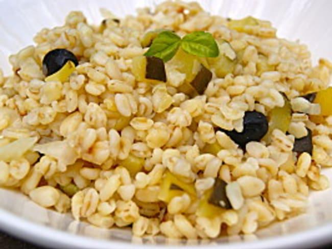 """""""Risotto"""" de blé aux courgettes et basilic"""