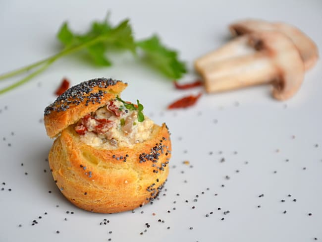 P'tits choux au pavot farcis aux champignons et tomates séchées