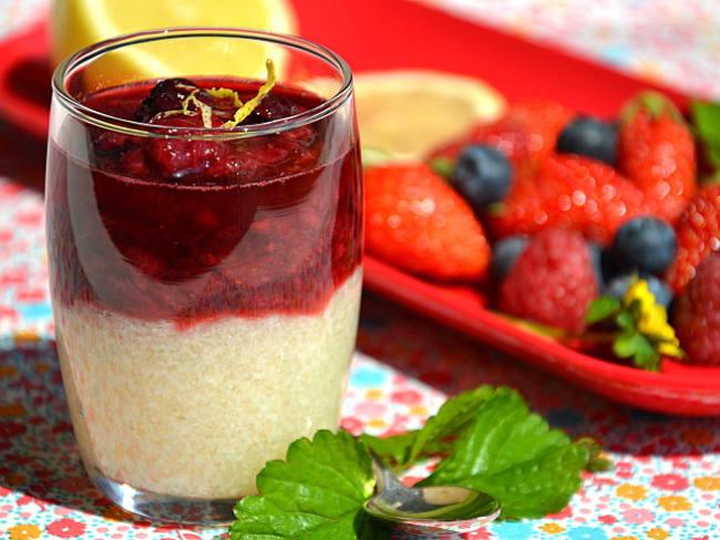 Compotée de fruits rouges & perles du Japon citron-verveine