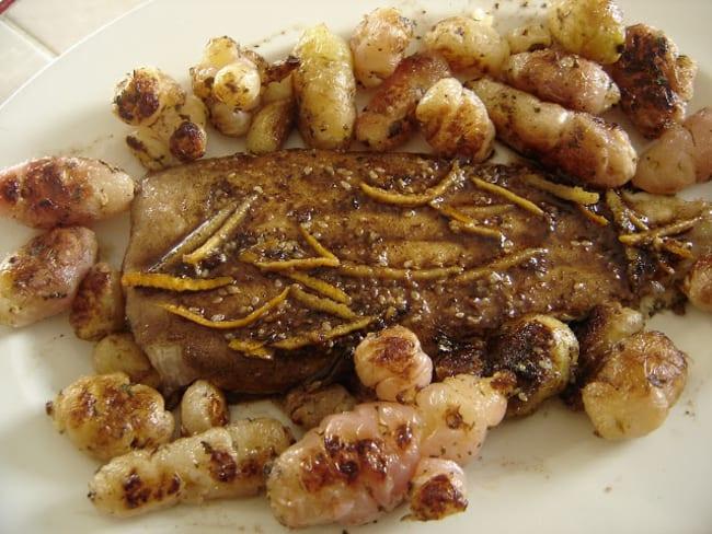 Sole sablaise aux épices et agrumes, poêlée d'ocas du Pérou