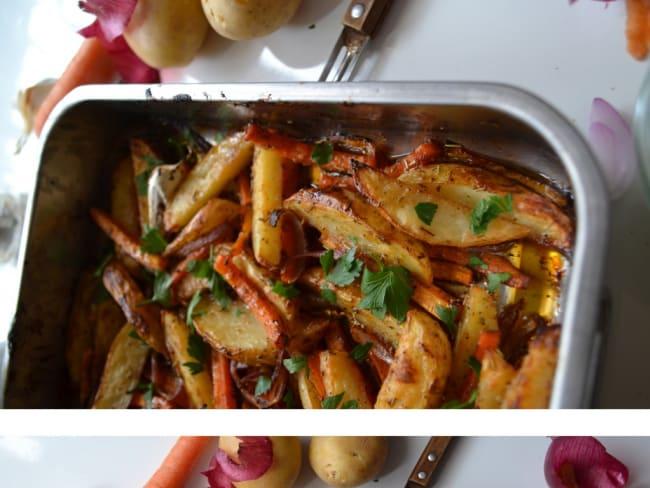 Légumes rôtis à la sauce BBQ et crème aux fines herbes