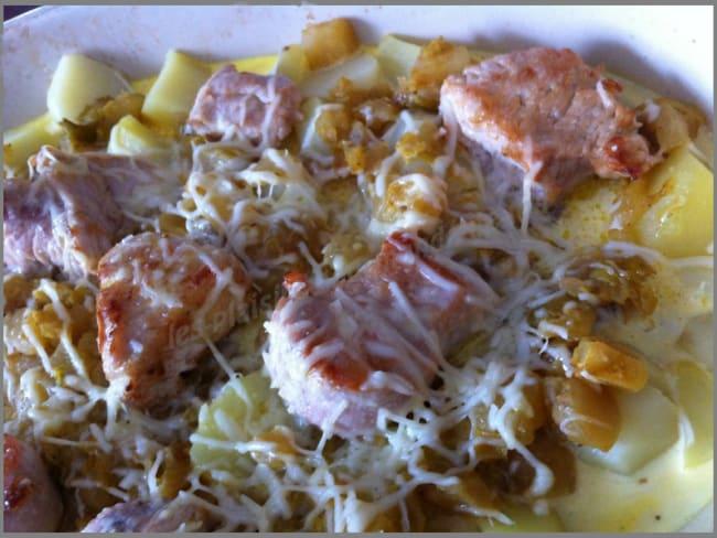 Tournedos de dinde sur gratin de pomme de terre et curry de navets
