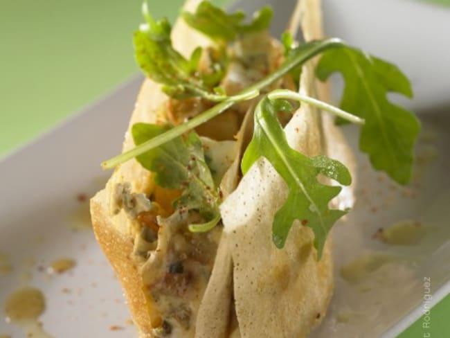 Millefeuille croustillant de légumes fondants au Bresse Bleu