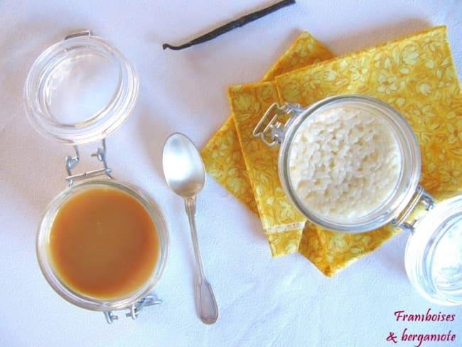 Riz au lait à la vanille et sauce caramel beurre salé