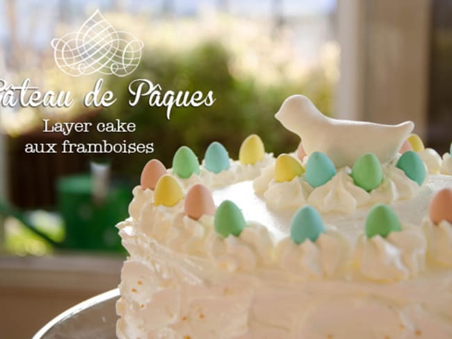 Gâteau de Pâques vanille et framboises