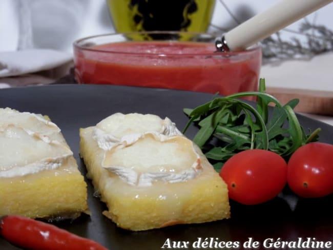 Toast de polenta au chèvre chaud