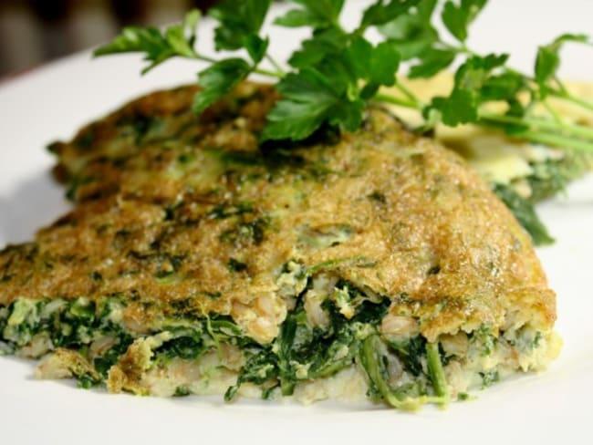 Omelette aux épinards et à l'épeautre