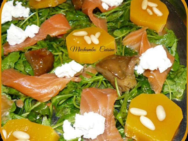 Salade Composée à la Courge d'Albinga, Roquette et Saumon Fumé