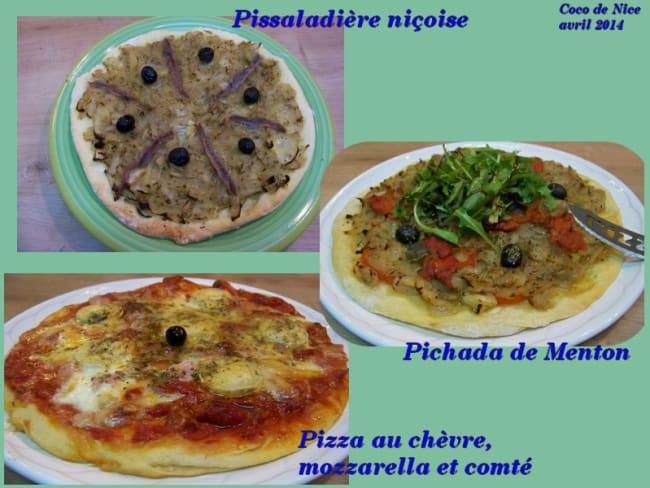 Pissaladière niçoise, Pichada de Menton, pizza au chèvre, mozzarella et comté ...