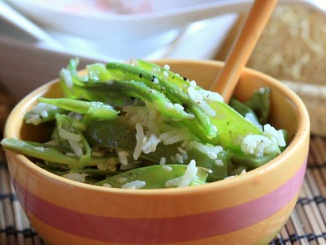Pois gourmands au riz parfumé, sésame et soja