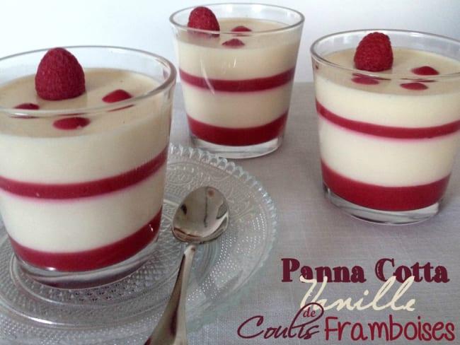 Panna cotta vanille et son coulis de framboises